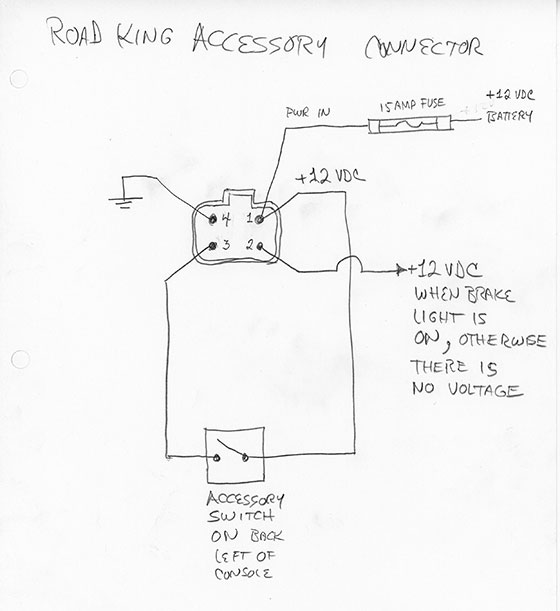 Road King Accessory Wiring Diagram | Wiring Diagram AutoVehicle Harley Accessory Wiring Schematic on harley davidson wire connectors, harley solenoid schematics, harley fluid capacities, harley davidson coil wiring, harley parts, harley davidson schematics, harley tools, harley motor mounts, harley davidson tach wiring, harley cooling system, harley engine, harley drawings, motorcycle schematics, harley speakers, harley lights, harley wiring harness, harley diagrams, harley transmission exploded view, harley headlights,